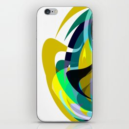 Orb, Abstract geometric Print in Blues Chartreuse & yellows iPhone Skin