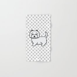 Cute West Highland White Terrier Dog Cartoon Illustration Hand & Bath Towel