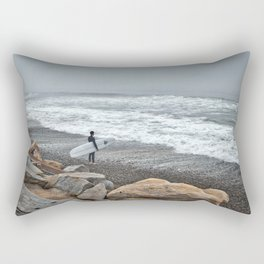 Surfer, High Tide. Torrey Pines State Beach, California. Rectangular Pillow