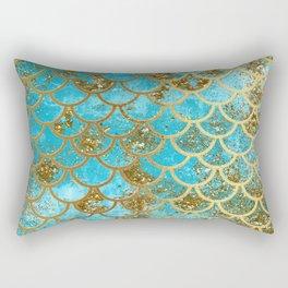 Aqua Teal & Gold Glitter MermaidScales - Mermaid Scales And Sea Foam Rectangular Pillow