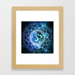 Om Mandala : Blue Green Galaxy Framed Art Print