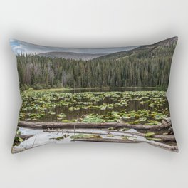Rustic Lake // Lilly Pond Green Leaves Logs and Natural Mountain Woodland Beauty Rectangular Pillow