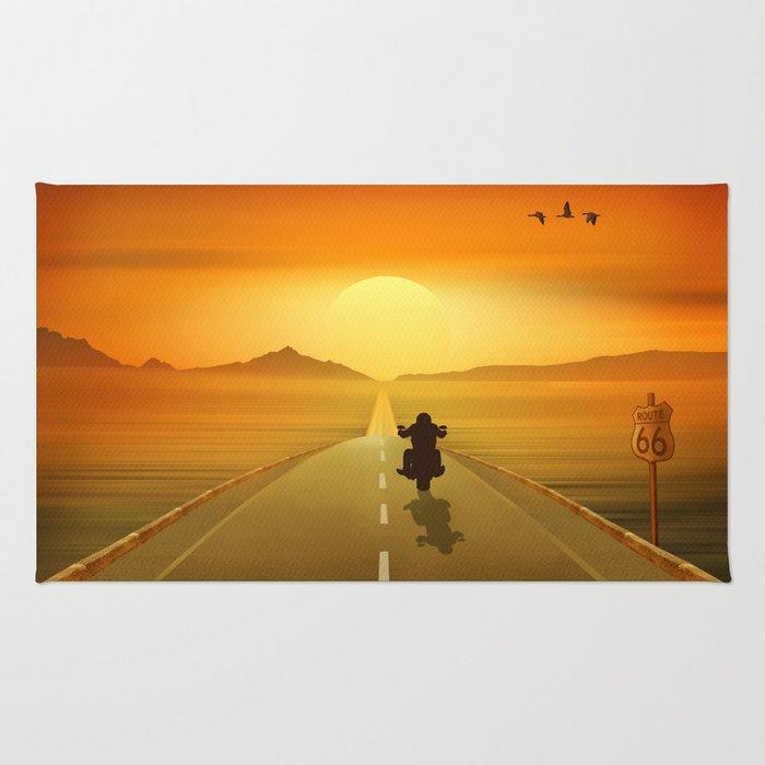 Biker On Route 66 Rug