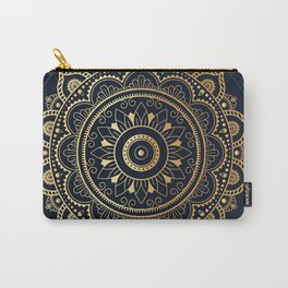 Mandala Watercolor Sketchy, Mandala Yoga, Blue, Gold Carry-All Pouch