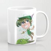 peter pan Mugs featuring Peter Pan by EY Cartoons