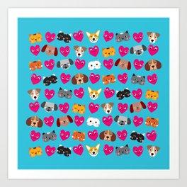 Cat Loves Dog Loves Cat Art Print