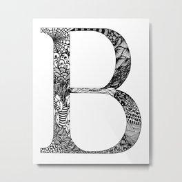 B Monogram Metal Print