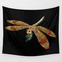 dragonfly Wall Tapestries featuring Dragonfly by Tim Jeffs Art