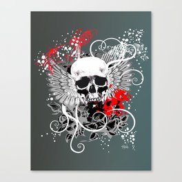 GOTH WINGED SKULL | white grey red Canvas Print