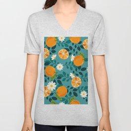 Tropical Oranges and White Daises Flowers Unisex V-Neck