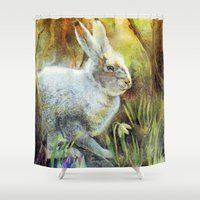 hare Shower Curtains featuring Hare by Natalie Berman