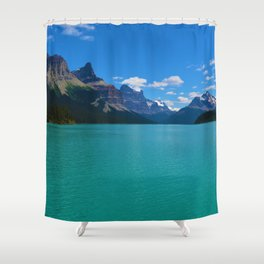 """Hall of Gods"" Maligne Lake in Jasper National Park, Canada Shower Curtain"