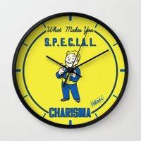 fallout Wall Clocks featuring Charisma S.P.E.C.I.A.L. Fallout 4 by sgrunfo
