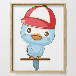 Cute Blue Bird Cartoon with Red Hat Serving Tray
