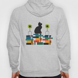 Cat, books and flowers Hoody