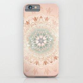Rose Gold Blush Mint Floral Mandala iPhone Case