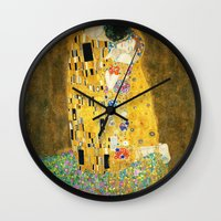 gustav klimt Wall Clocks featuring Gustav Klimt The Kiss by Art Gallery