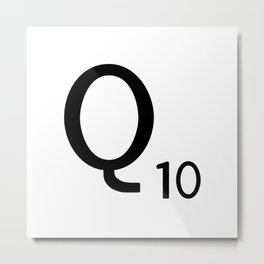 Letter Q - Custom Scrabble Letter Tile Art - Scrabble Q Initial Metal Print