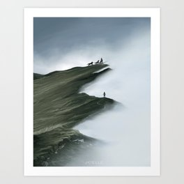 Foggy Landscape Digital Painting Art Print