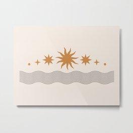 Midcentury Magic Minimalist Astrological Zodiac Sun Rise Symbol Boho Bohemian Magic Metal Print