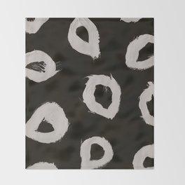 Round, Abstract, White & Black Throw Blanket