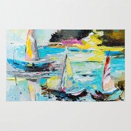 Boats on the lake Rug