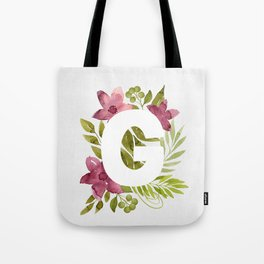 Monogram G with red waercolor flowers and green leaves. Floral letter G. Botanical illustration. Tote Bag