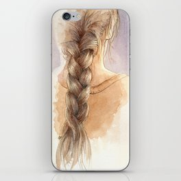 Girl with Braid in Watercolor iPhone Skin