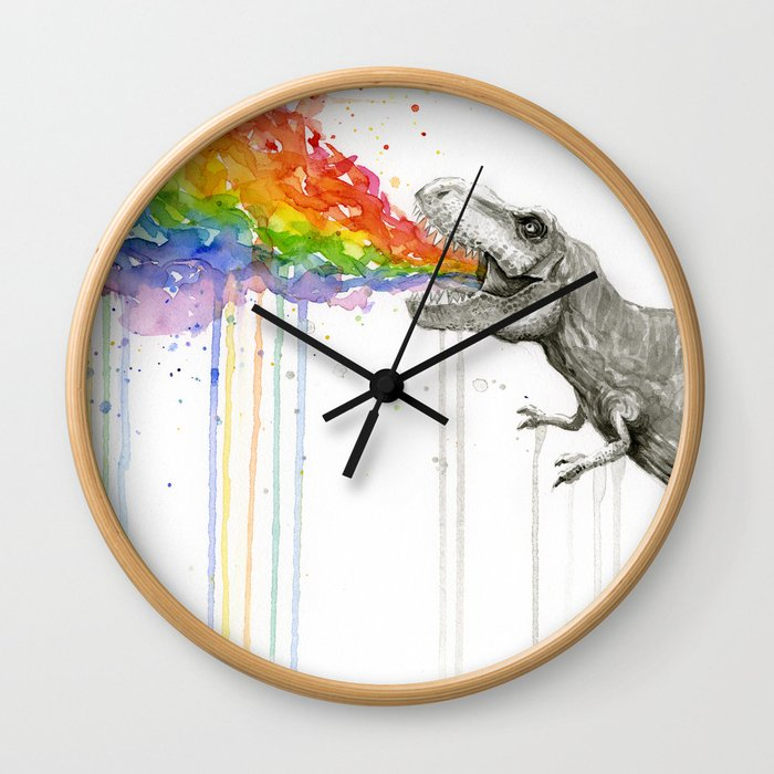 T-Rex Dinosaur Rainbow Puke Taste the Rainbow Watercolor Wall Clock