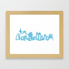 Barcelona skyline in neon style Framed Art Print