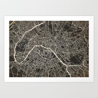 paris map Art Prints featuring Paris map by NJ-Illustrations