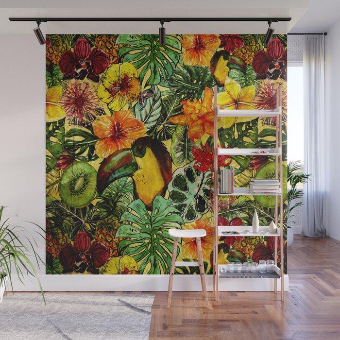 Tropical Vintage Exotic Jungle Flower Flowers - Floral watercolor pattern Wall Mural
