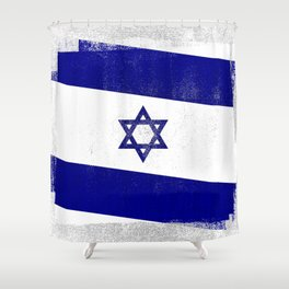 Israeli Distressed Halftone Denim Flag Shower Curtain