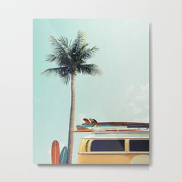 Yellow surf van Metal Print
