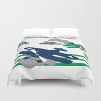 airplanes Duvet Covers featuring Vintage Airplanes one  by ann t jones
