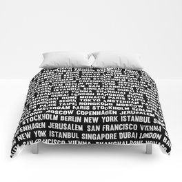 Famous City pattern black & White Comforters