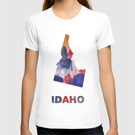 Idaho map outline Red blue brown watercolor painting T-shirt