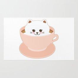 Cute Kawai cat in pink cup Rug
