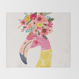 Pink flamingo with flowers on head Throw Blanket