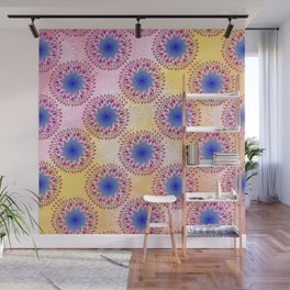 Teardrop Concentric Circle Pattern (Pink,Yellow) Wall Mural