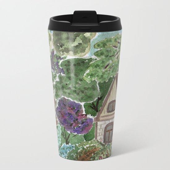 House in the garden . watercolor . Metal Travel Mug