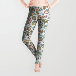 Hedgehog Paisley_Colors and White Leggings