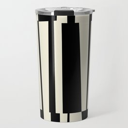 BW Oddities III - Black and White Mid Century Modern Geometric Abstract Travel Mug