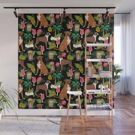 Boxer tiki tropical dog pattern modern pet friendly pet pattern dog breeds Wall Mural