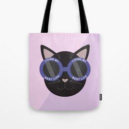 Living My Best Life - Black Cat Tote Bag