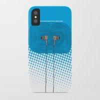 headphones iPhone & iPod Cases featuring Headphones by Miguel Villasanta