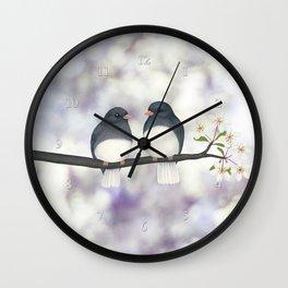 dark eyed juncos (bokeh and blossoms) Wall Clock