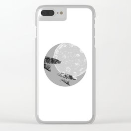 Around the Moon Grey Textured Version 1 Clear iPhone Case