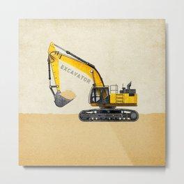 Construction Excavator Metal Print