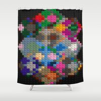 building Shower Curtains featuring Building Blocks by Fine2art